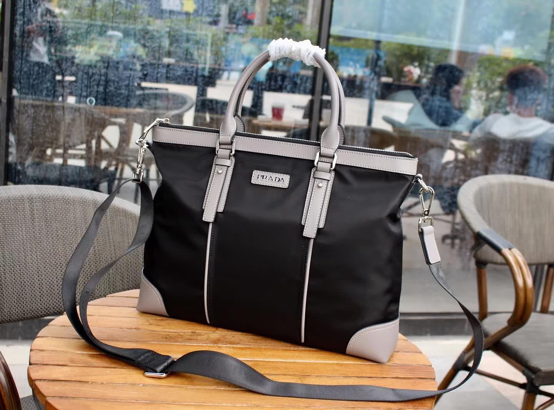Prada 0298-1 Men Leather Briefcase Bag Black