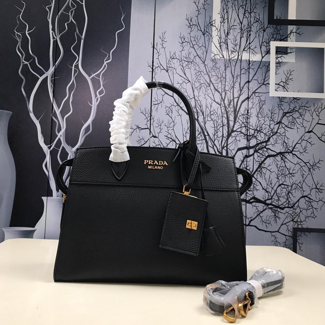 Prada 1BA047 Women Esplanade Leather Bag Black