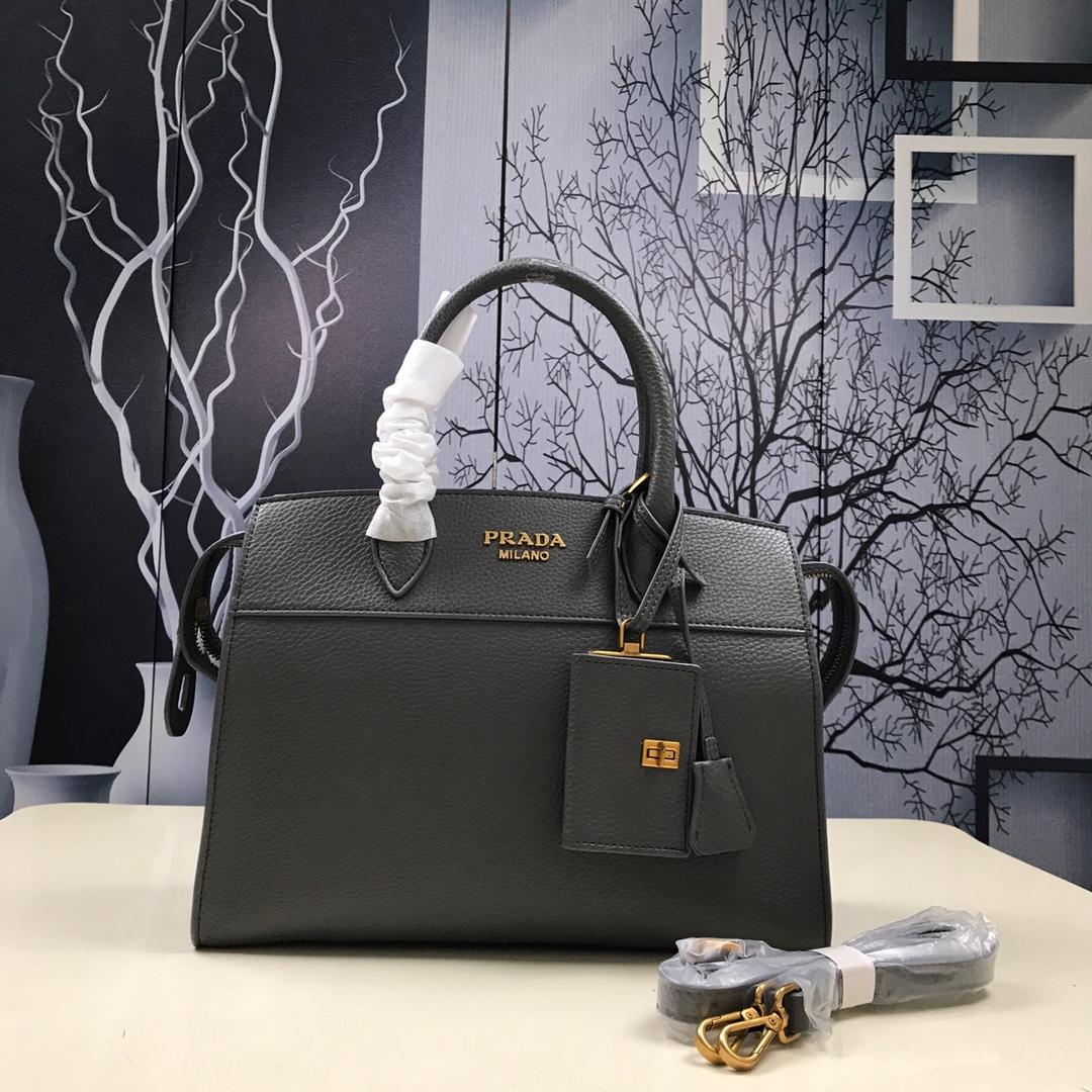 Prada 1BA047 Women Esplanade Leather Bag Grey