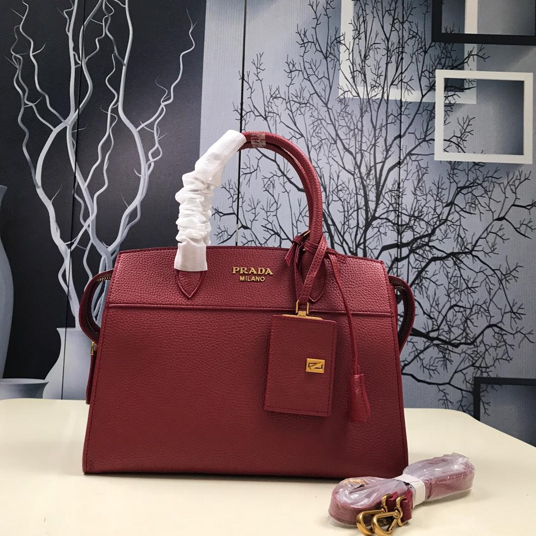 Prada 1BA047 Women Esplanade Leather Bag Red