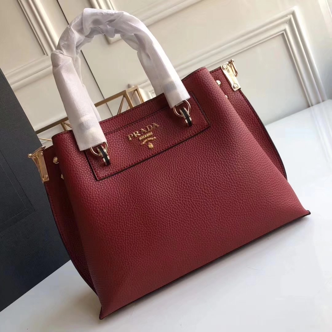 Prada 2018 Women Leather Tote Bag Red
