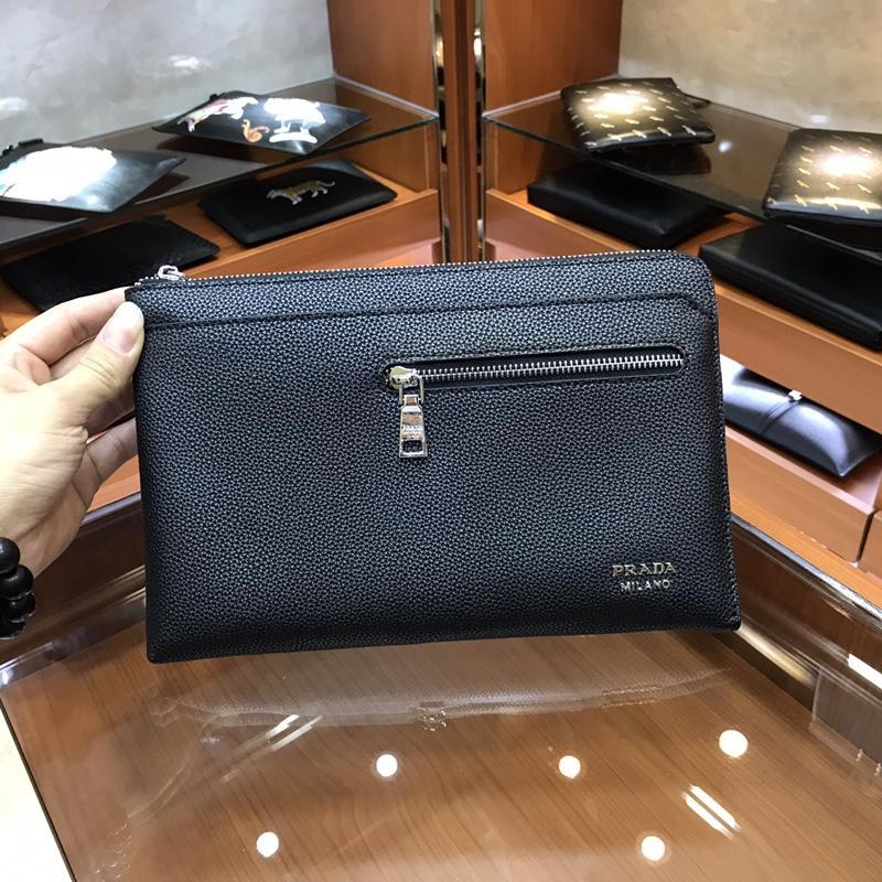 Prada 3166-7 Men Leather Zipper Clutch Bag Black