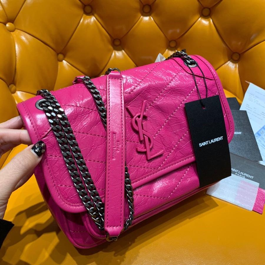 Replcai Saint Laurent NIKI Baby Chain Shoulder Bag In Crinkled Vintage Leather Freesia