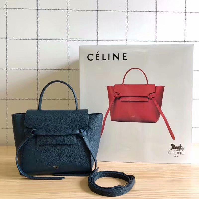 Replcia Celine Nano Belt Bag in Grained Calfskin Blue