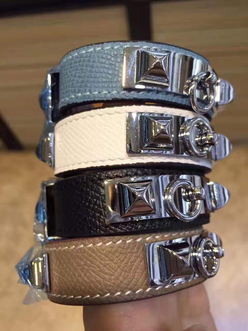 Replcia Hermes Narrow Kelly Leather Bracelet With Silver 005