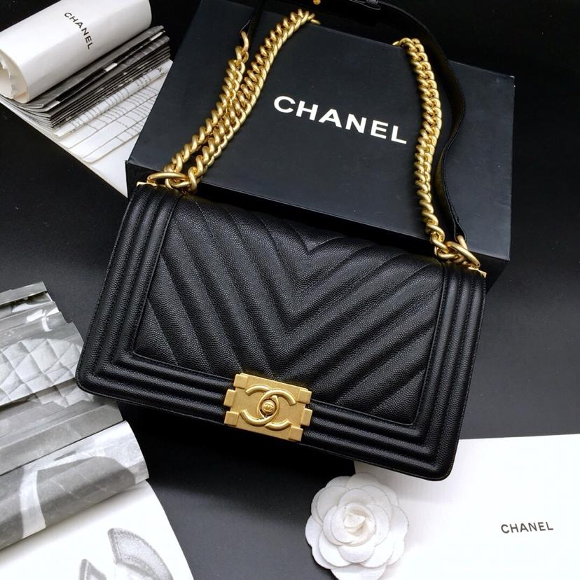 Replica 25.5cm Boy Chanel Handbag Black Grained Calfskin Gold Tone Metal