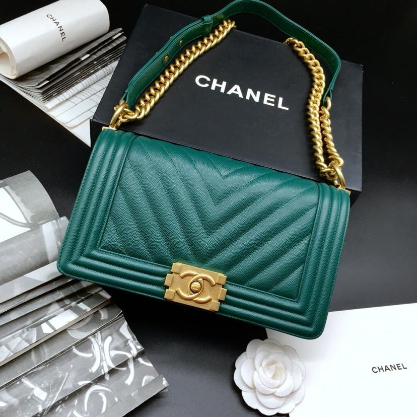 7f61d6c668ea6 ... Calfskin Gold Tone Metal Default View. Boy Chanel Flap Shoulder Bag  Caviar Leather A67085 Green