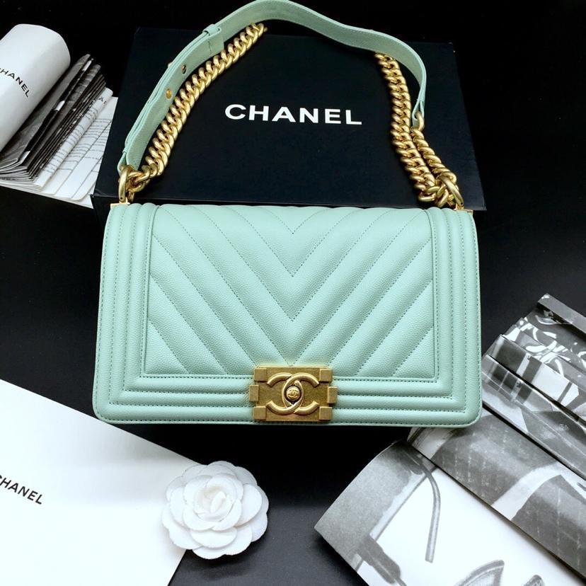 Replica 25.5cm Boy Chanel Handbag Light Blue Grained Calfskin Gold Tone Metal