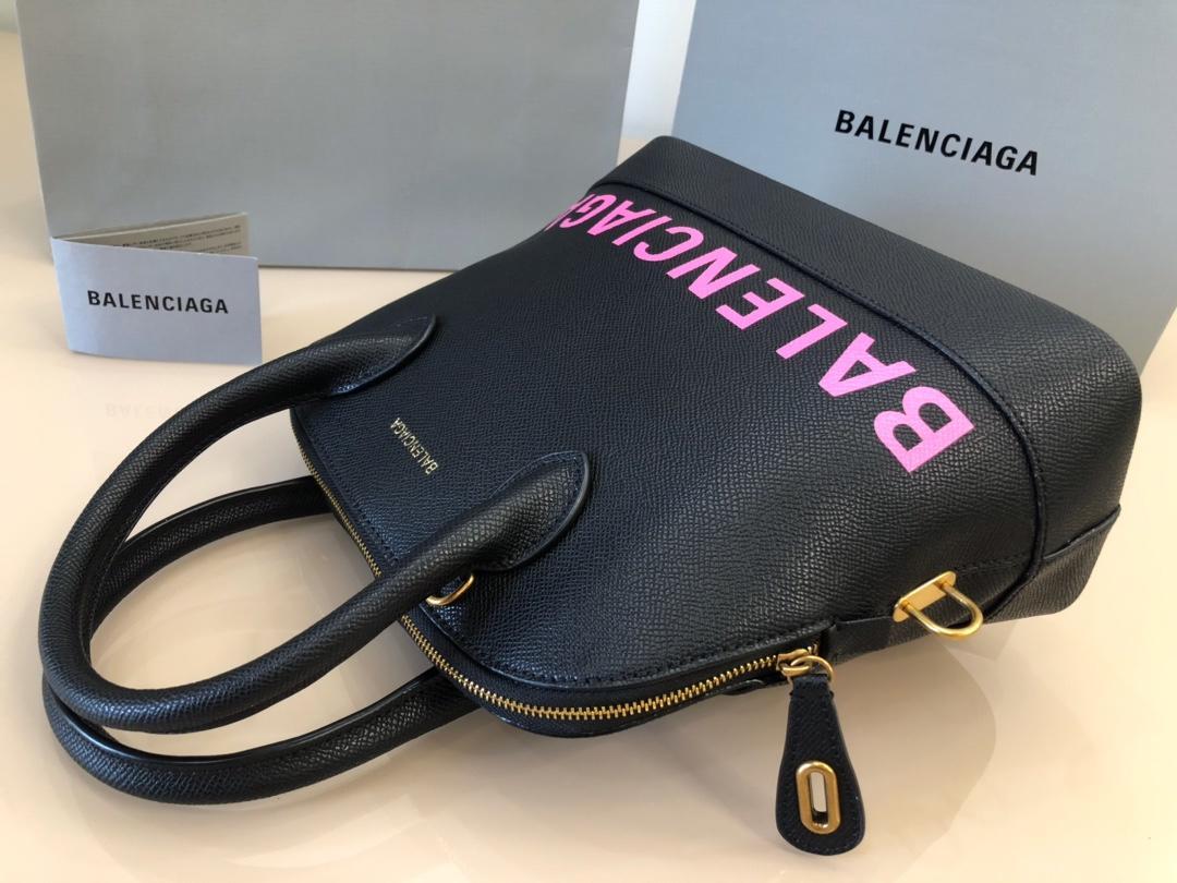 Replica Balenciaga Ville Top Handle Bag Grained Calfskin Black with Pink Logo