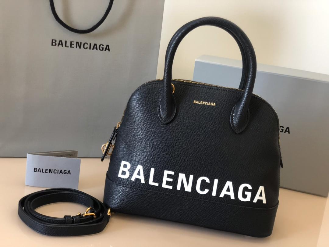Replica Balenciaga Ville Top Handle Bag Grained Calfskin Black with White Logo