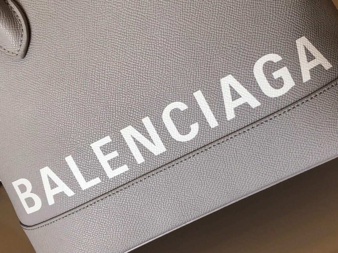 Replica Balenciaga Ville Top Handle Bag Grained Calfskin Gray