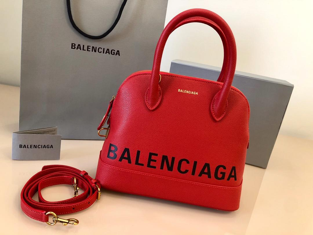 Replica Balenciaga Ville Top Handle Bag Grained Calfskin Red with Black Logo