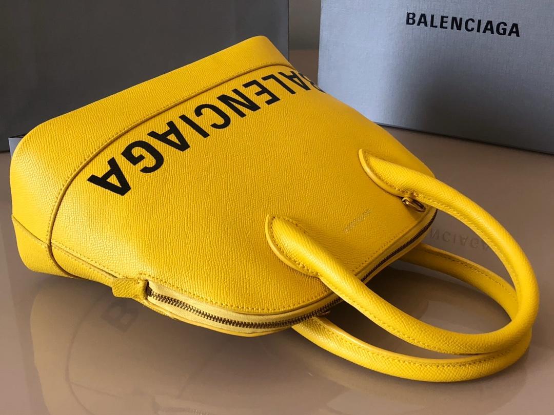 Replica Balenciaga Ville Top Handle Bag Grained Calfskin Yellow