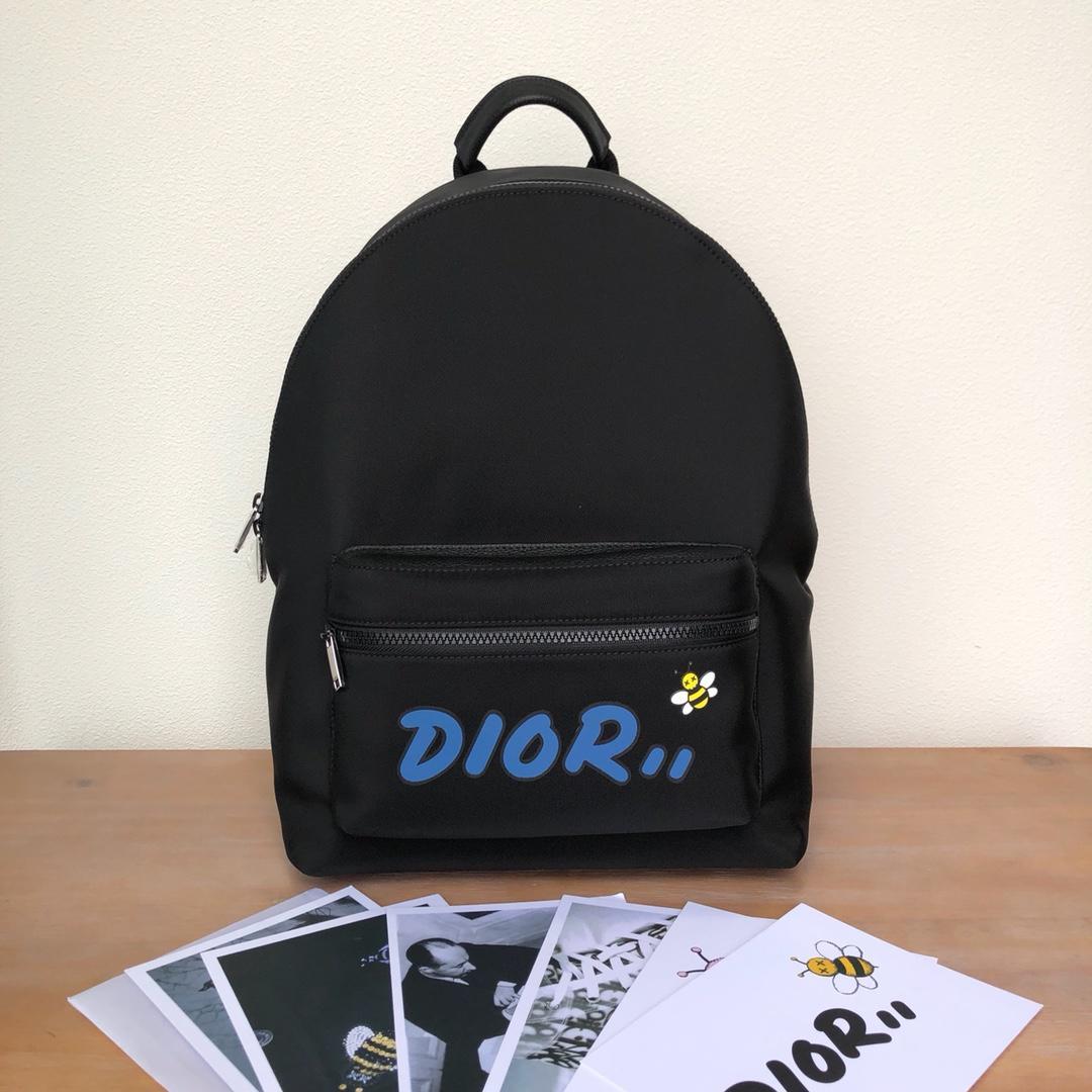 Replica Black Nylon DIOR x KAWS Rider Backpack Blue Logo