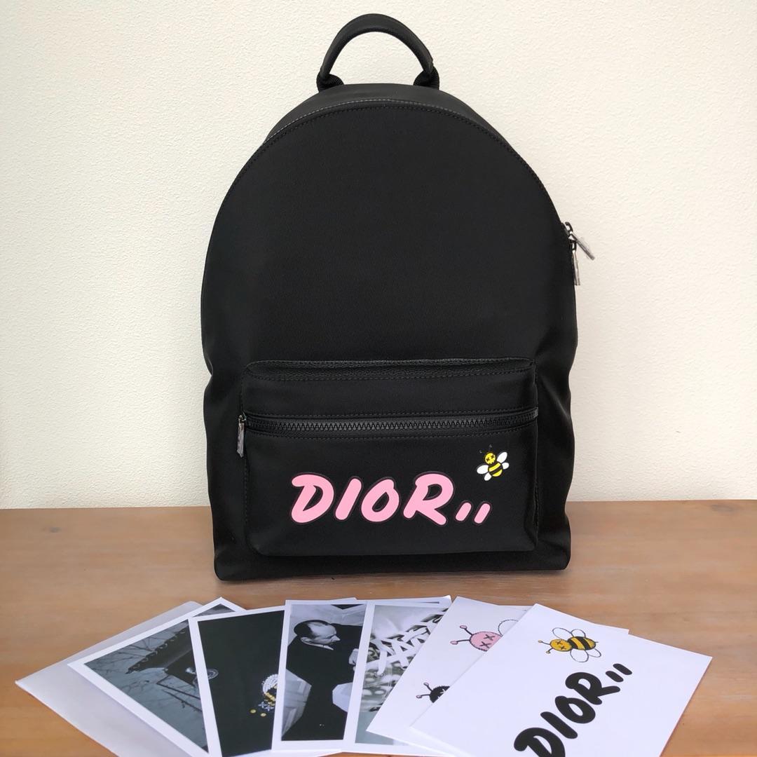 Replica Black Nylon DIOR x KAWS Rider Backpack Pink Logo