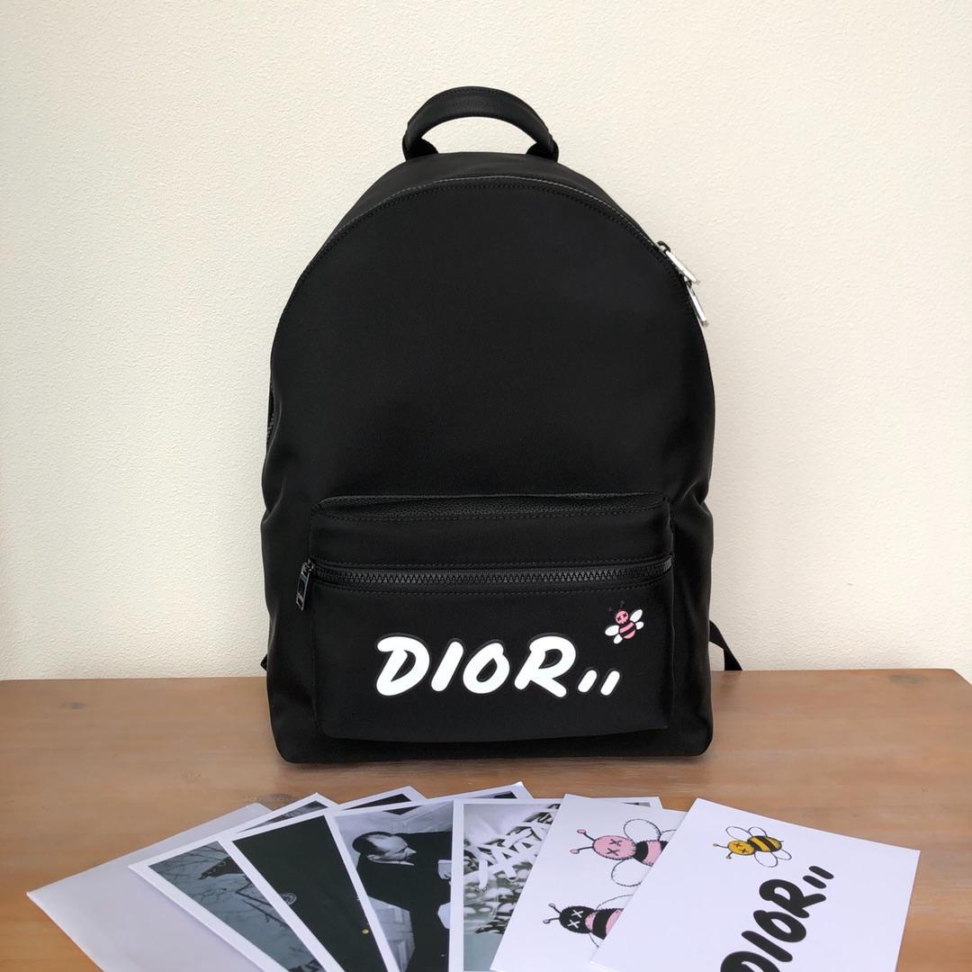 Replica Black Nylon DIOR x KAWS Rider Backpack White Logo