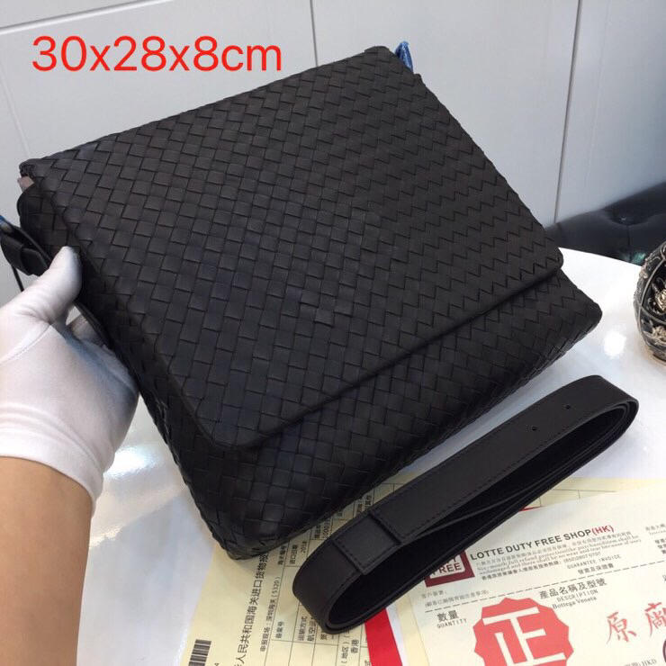 Replica Bottega Veneta Men Denim Intrecciato Calf Messenger Bag 406275
