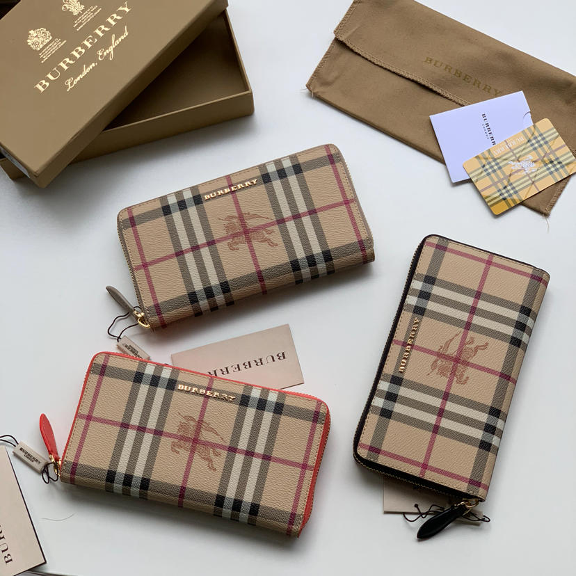 Replica Burberry 40614811 Women Haymarket Check and Leather Ziparound Wallet 3 Color