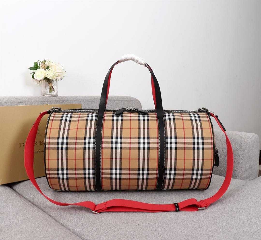 Replica Burberry 40742791 Large Men Check Leather Travel Bag