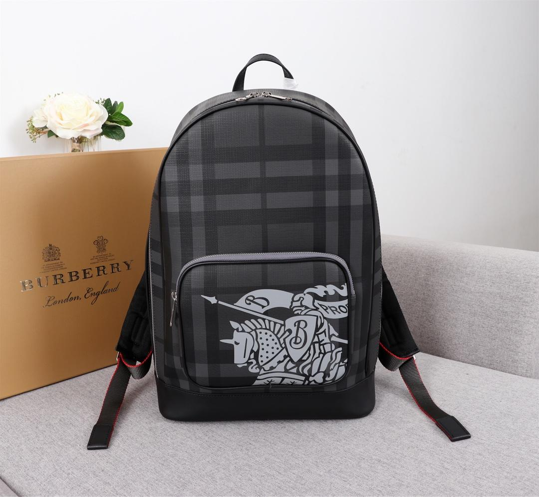 Replica Burberry Men 80051601 London Check and Leather Backpack With Logo
