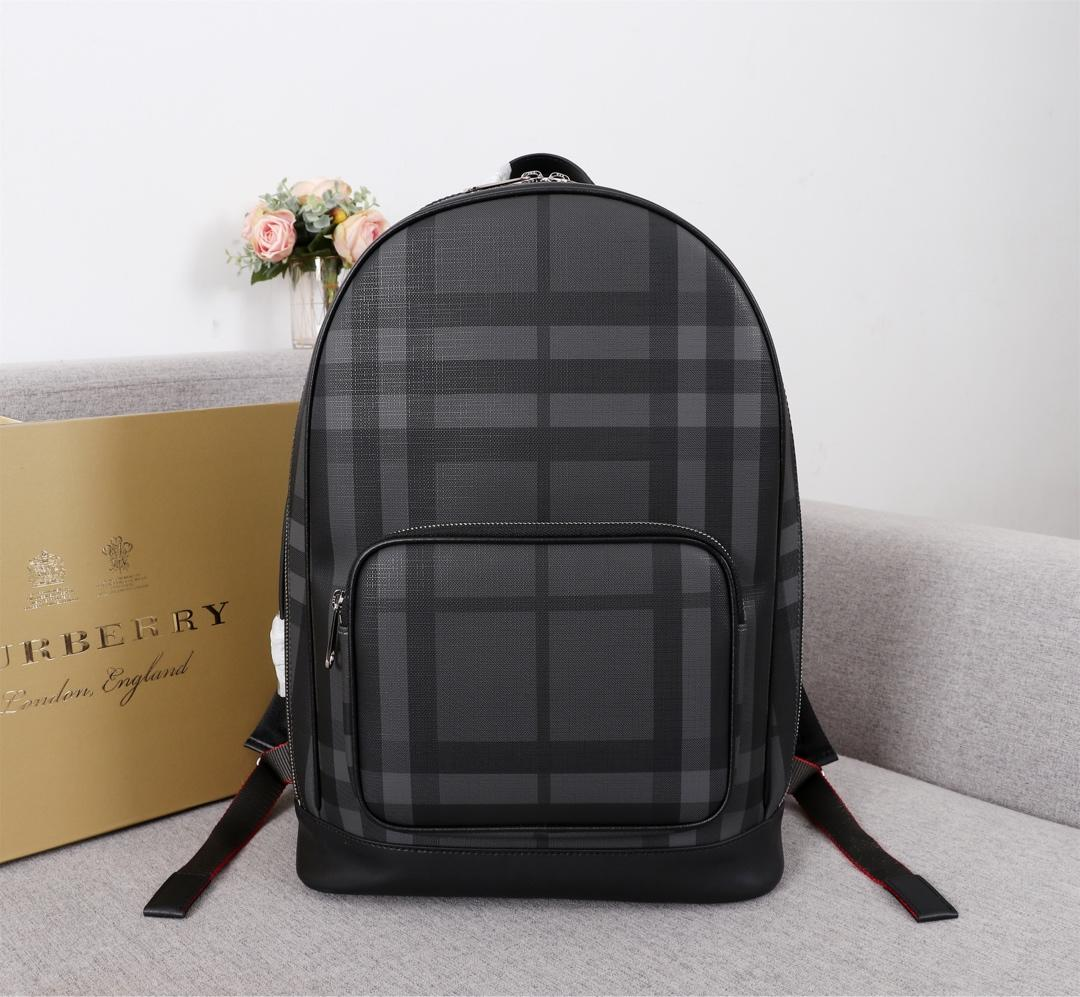 Replica Burberry Men 80051601 London Check and Leather Backpack