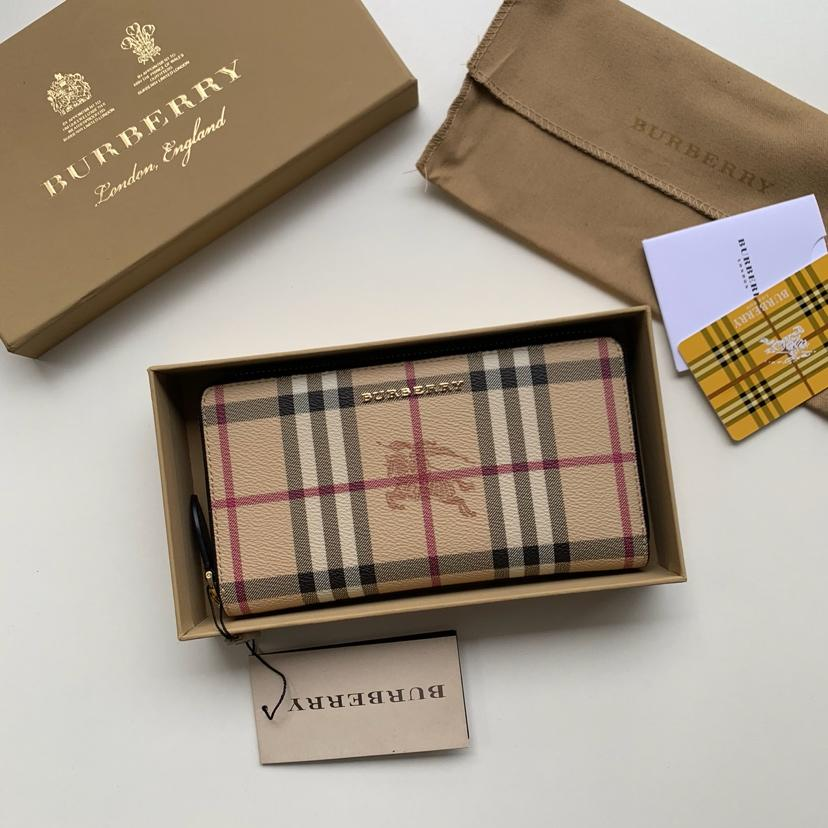 Replica Burberry Women Haymarket Check and Leather Ziparound Wallet