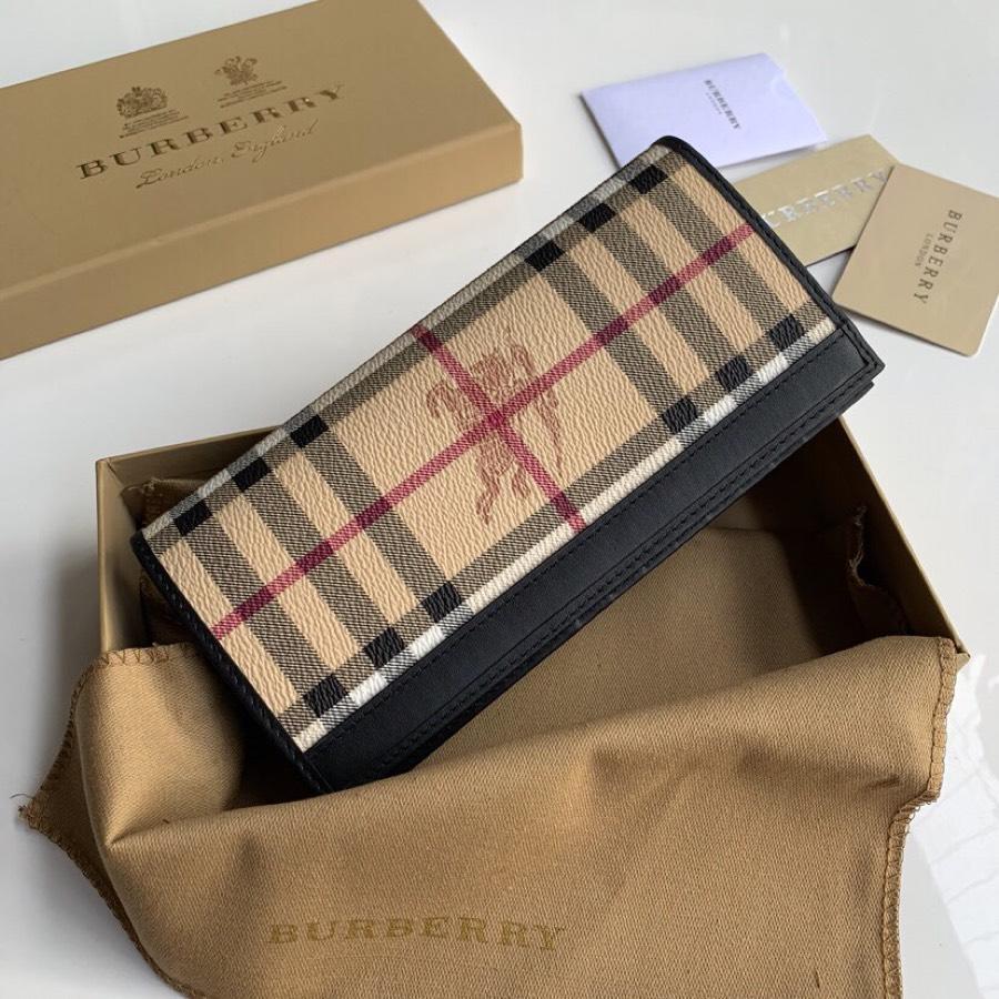 Replica Burberry Women Vintage Check Leather Long Wallet Black