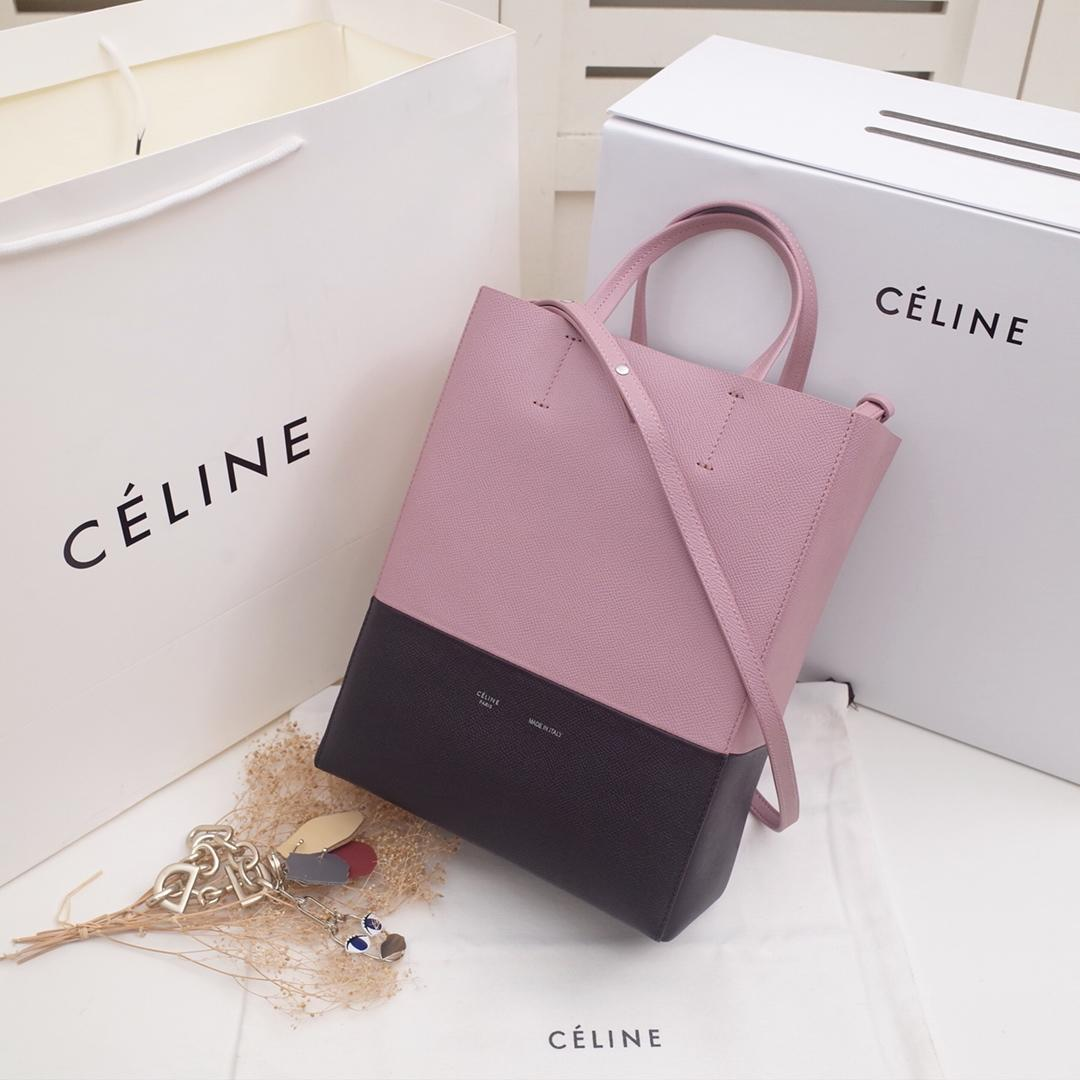 Replica Celine Cabas in Grained Calfskin Pink and Black