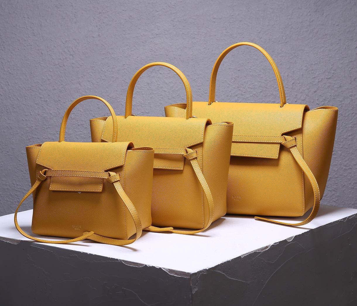 Replica Celine Women Nano Belt Bag in Grained Calfskin Ocre 3 size