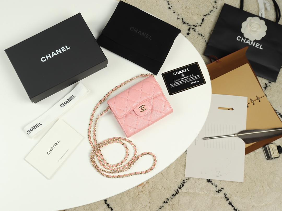 Replica Chanel A84512 Women Classic Clutch With Chain Grained Calfskin Gold Tone Metal Pink