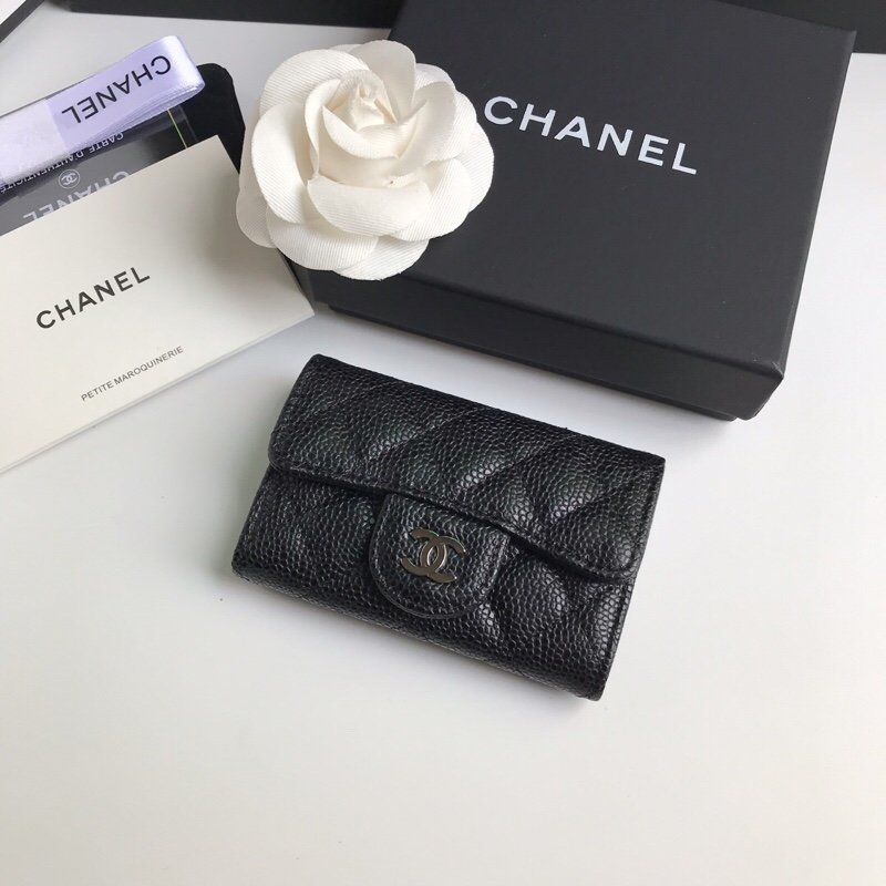 Replica Chanel CF Card Small Wallet Grained Calfskin  Silver-Tone Metal Black
