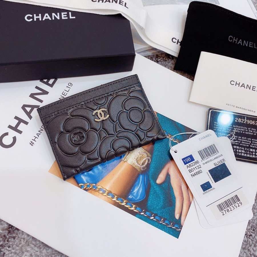 Replica Chanel Card Holder Satin Finish Goatskin Gold Metal Black