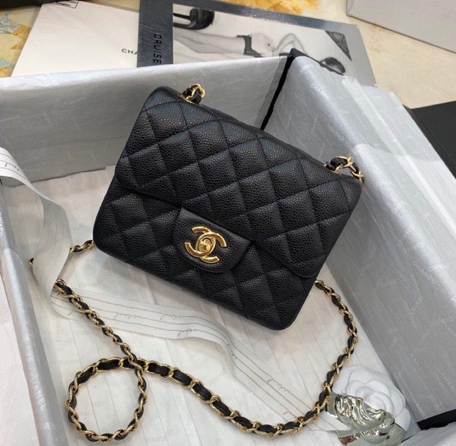 Replica Chanel Mini Flap Bag Grained Calfskin Gold-Tone Metal A35200