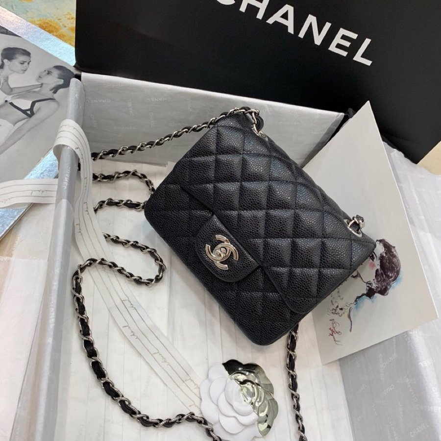Replica Chanel Mini Flap Bag Grained Calfskin Silver-Tone Metal A35200