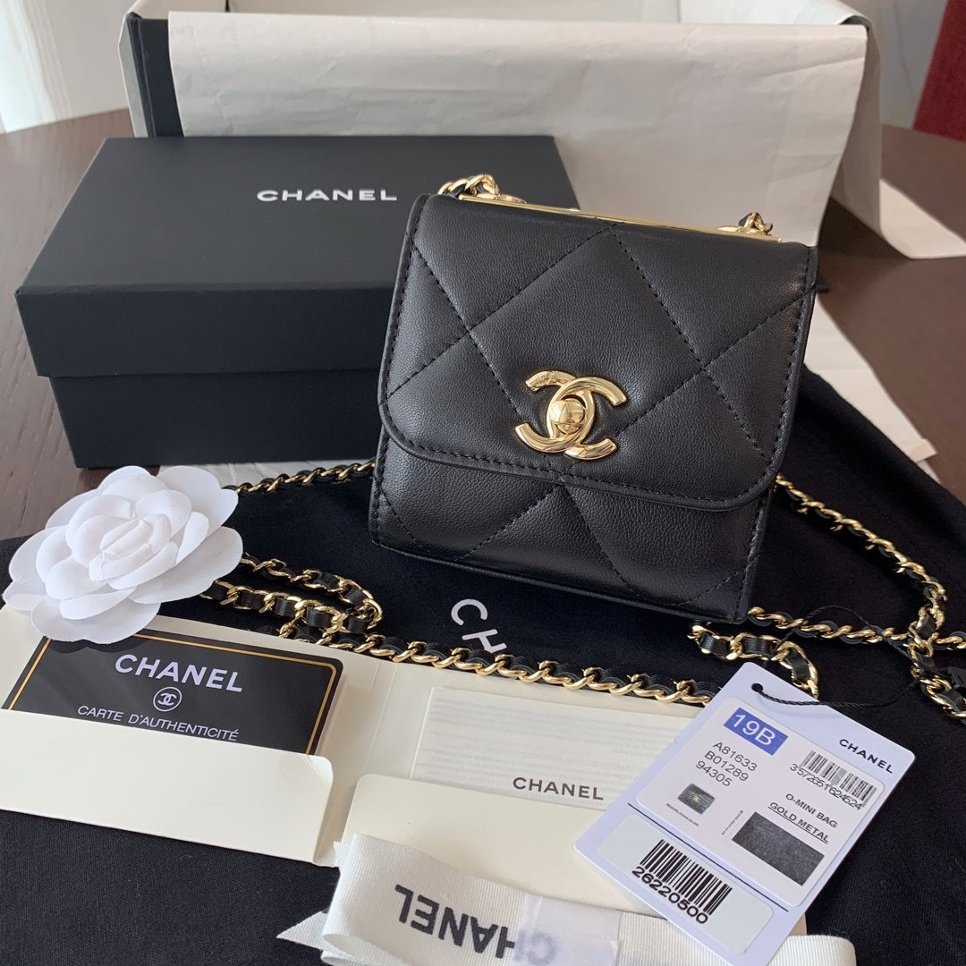Replica Chanel Ohanel Trendy Mini Wallet on Chain Lambskin Gold-Tone Metal Black