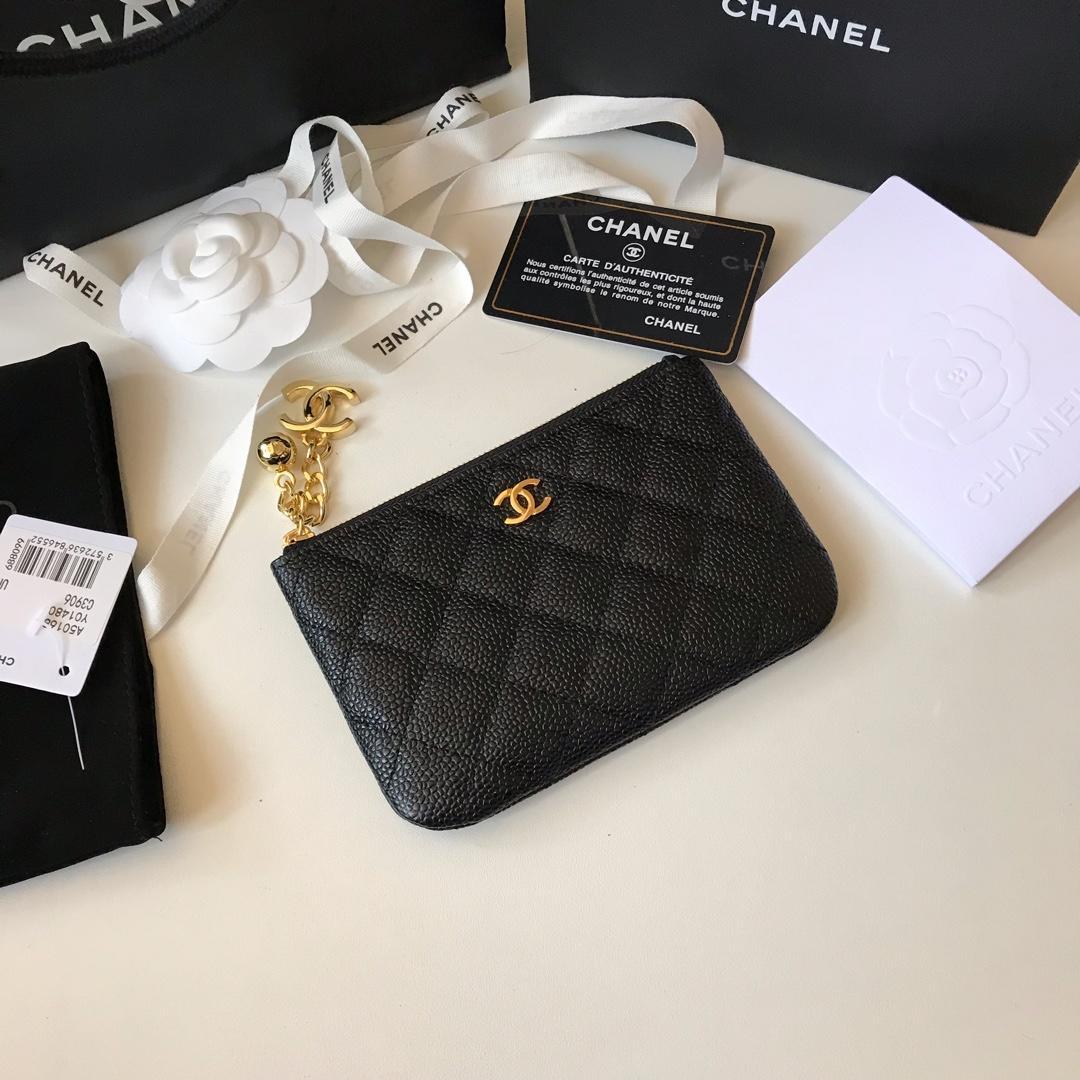 Replica Chanel Women Coin Purse Wallet Grained Calfskin Gold-Tone Metal