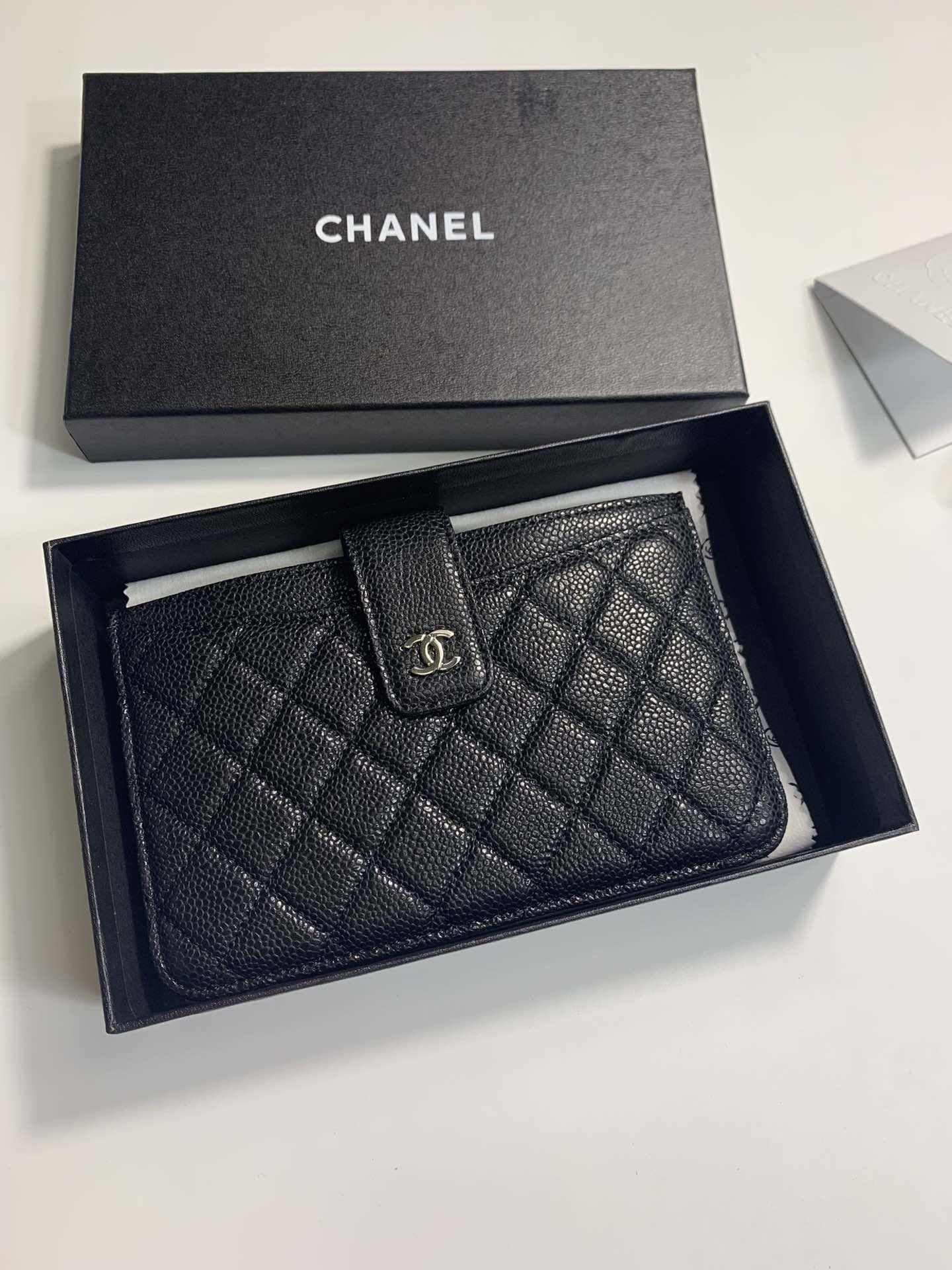 Replica Chanel Women Small Card Bag Grained Calfskin Silver-Tone