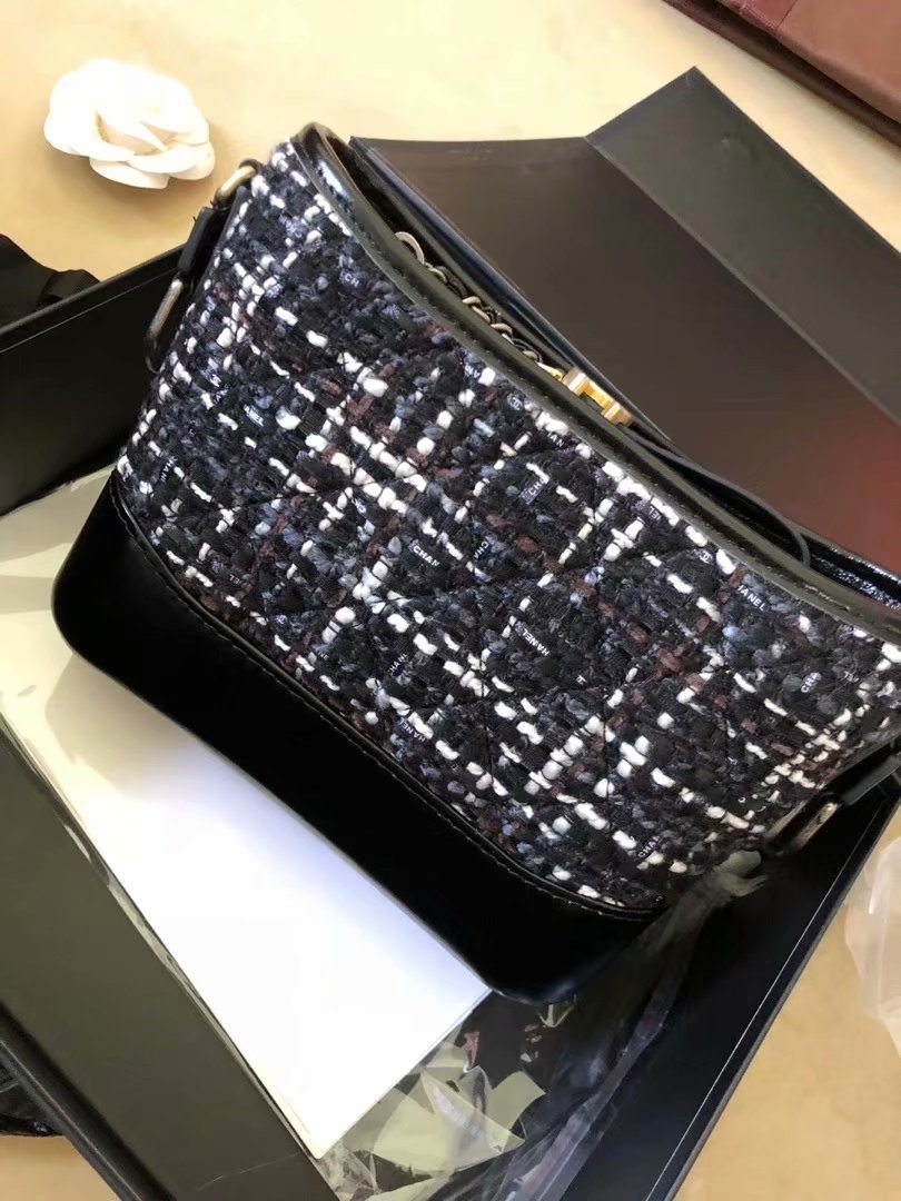 Replica Chanels Gabrielle Hobo Bag Tweed Calfskin Gold-Tone Metal Blue