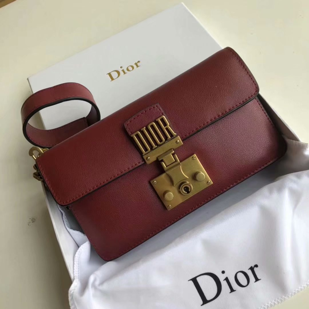 Replica Dior Dioraddict Small Women Shoulder Bag Dark Red Leather