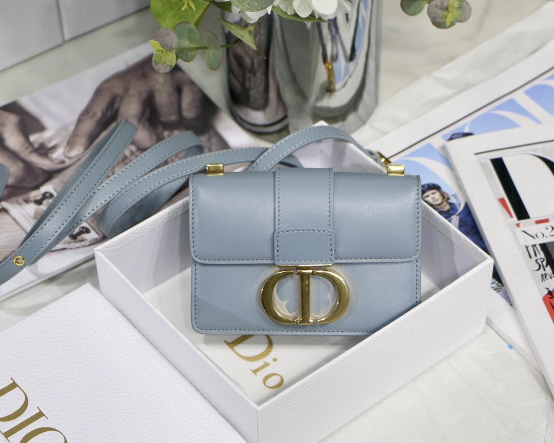 Replica Dior Mini Micro 30 Montaigne Bag Blue-Gray Box Calfskin