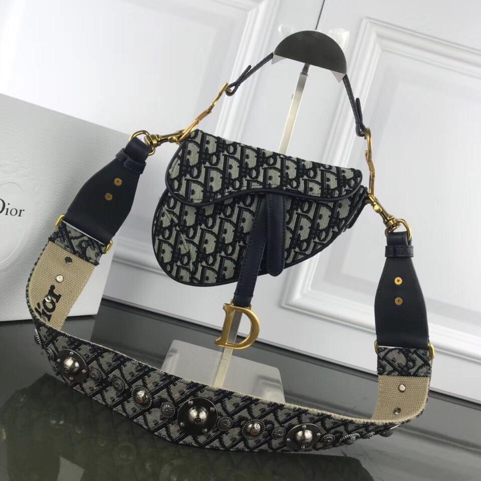 Replica Dior Mini Saddle Bag in Blue Canvas