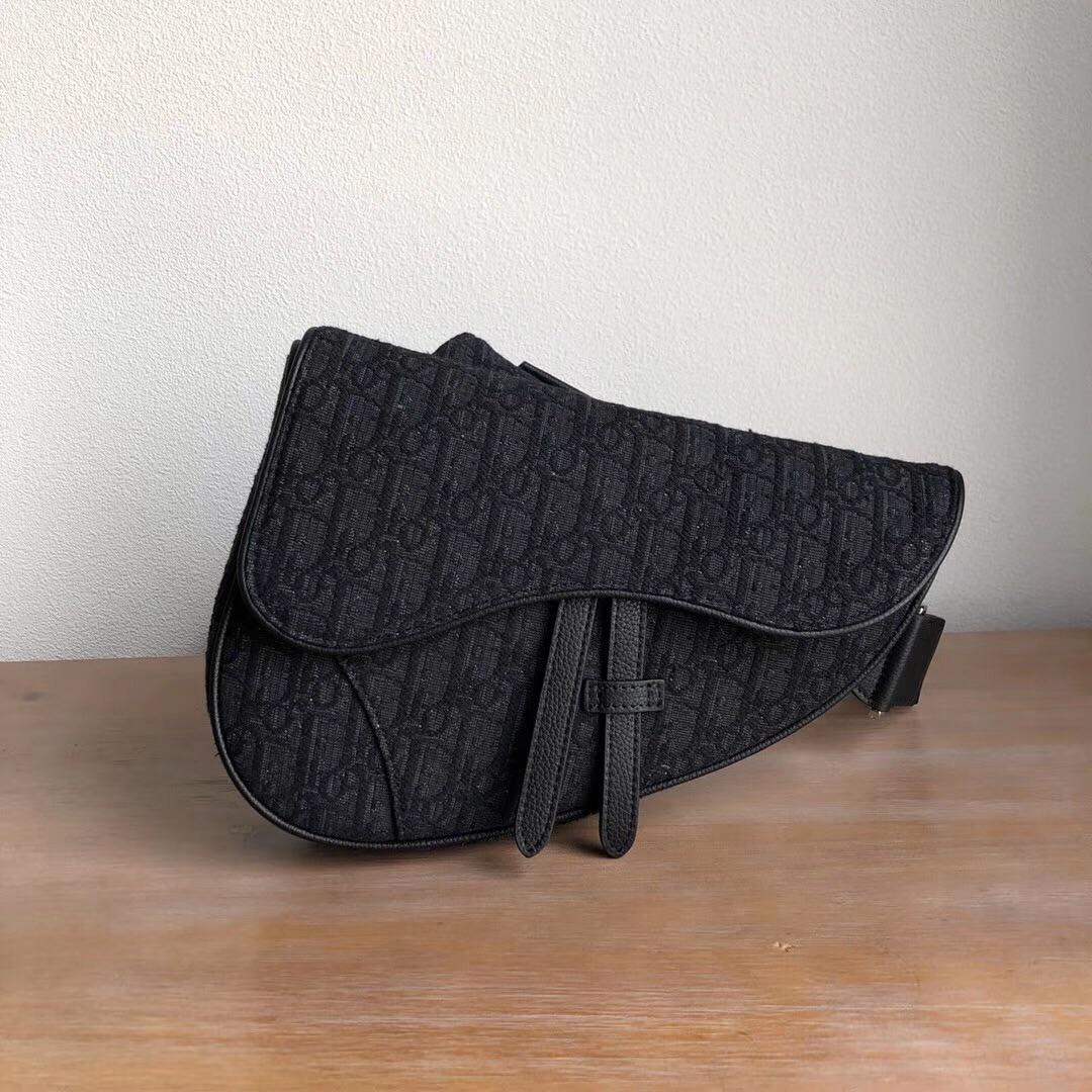 Replica Dior Saddle Bag in Black Dior Oblique Jacquard Bag