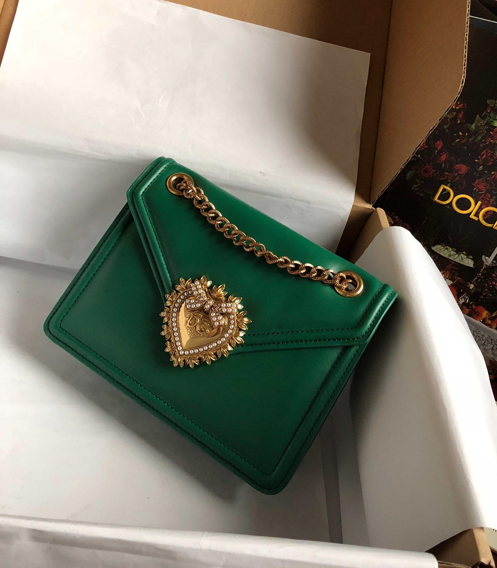 Replica Dolce & Gabbana Medium Devotion Bag in Smooth Calfskin Leather Green