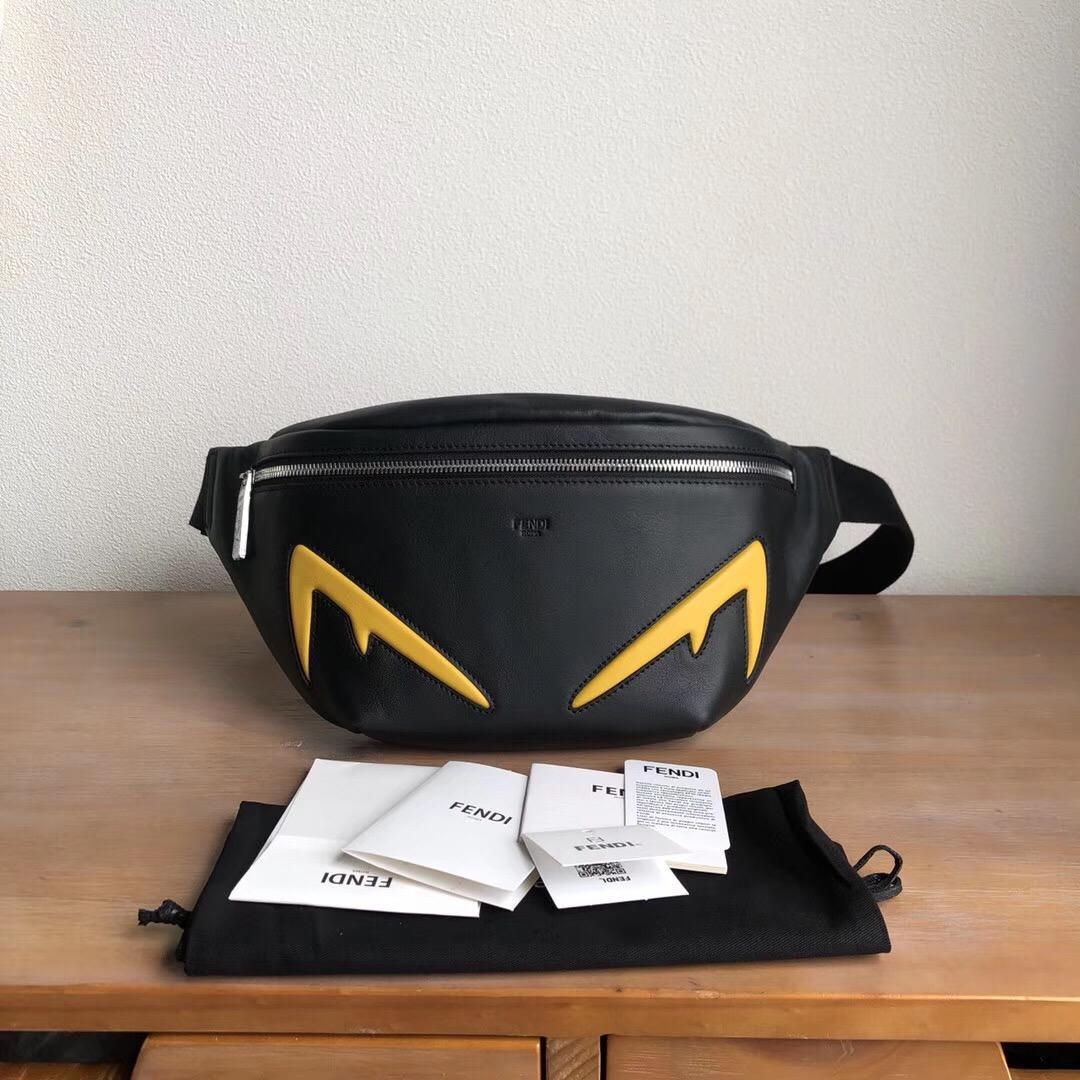 Replica Fendi Men Black Leather Belt Bag with Yellow Embossed Diabolic Eyes