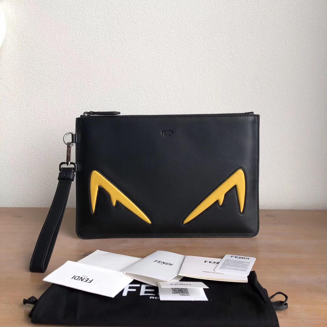 Replica Fendi Men Black Leather Pouch with Yellow Embossed Diabolic Eyes