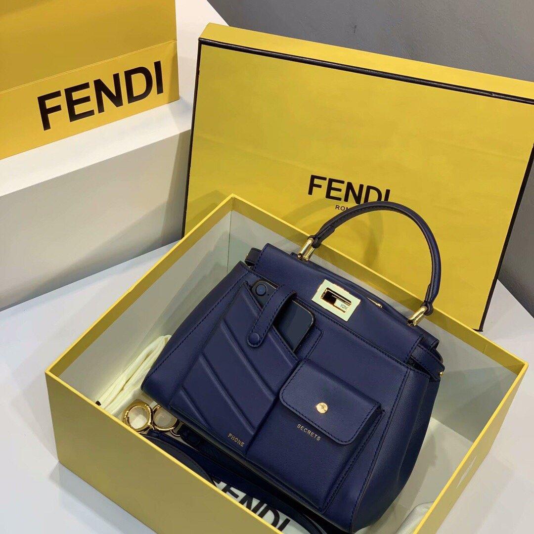 Replica Fendi Peekaboo Iconic Mini Blue Leather Bag