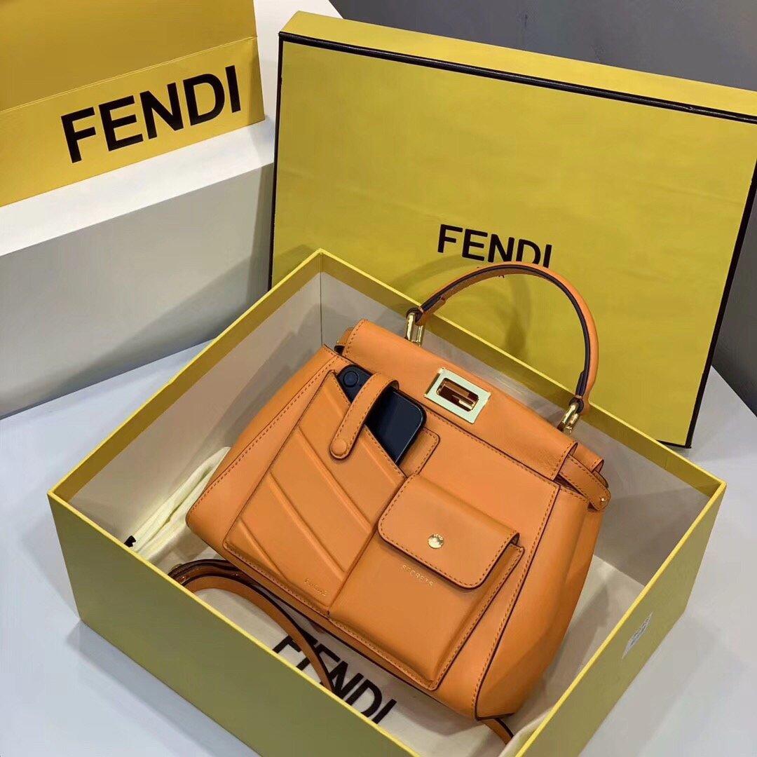 Replica Fendi Peekaboo Iconic Mini Orange Leather Bag