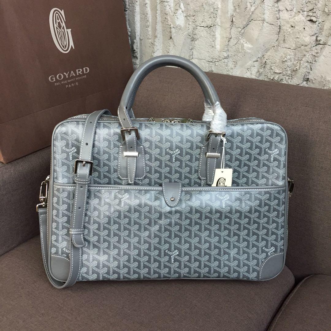 Replica Goyard Men Ambassador Briefcase Gray