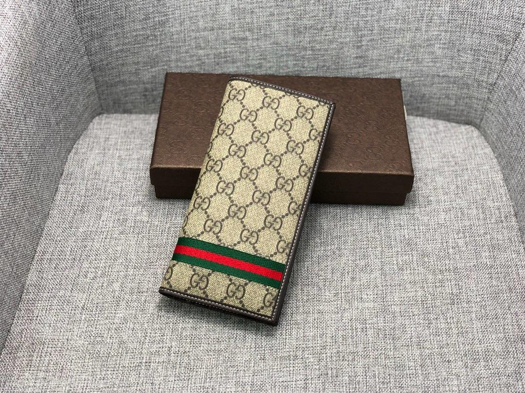 Replica Gucci 225826 Men Long Wallet Black Leather Brown