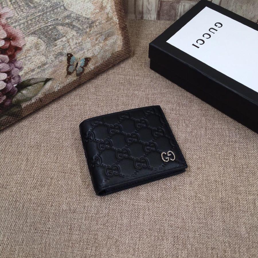 Replica Gucci 233100-1 Men Small Wallet Black Gucci Signature Soft Leather